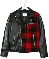 MSGM teen color block biker jacket
