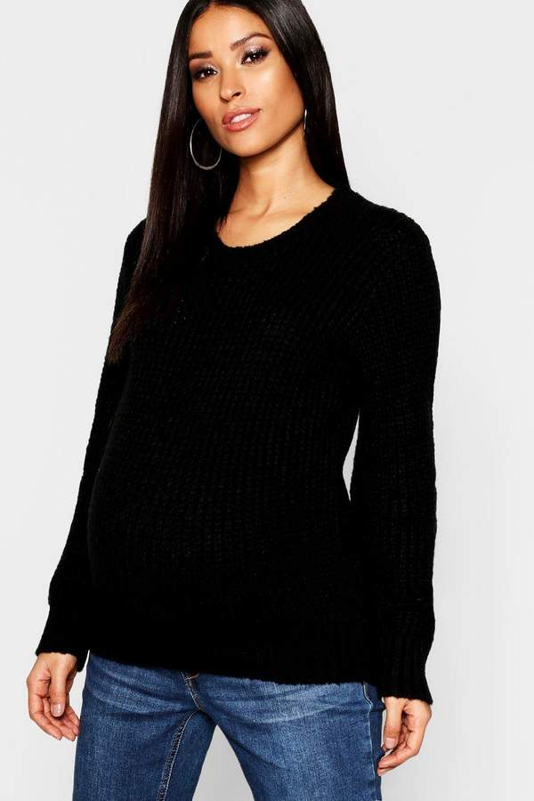 Maternity Crew Neck Knitted Sweater