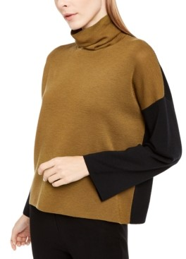 Eileen Fisher Wool Colorblocked Turtleneck Sweater, Regular & Petite Sizes