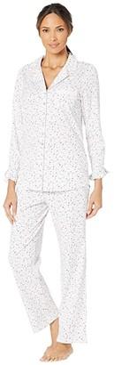 Eileen West Cotton Peached Jersey Knit Notch Collar Pajama Set (White Ground/Multi Berries) Women's Pajama Sets