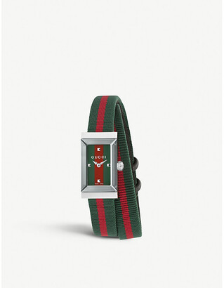 Gucci YA147503 G-Frame fabric strap stainless steel quartz watch