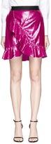Self-Portrait Frill confetti velvet mock wrap mini skirt