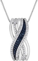 JCPenney FINE JEWELRY 1/10 CT. T.W. White and Color-Enhanced Blue Diamond Crossover Pendant Necklace
