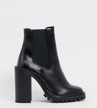 ASOS DESIGN Wide Fit Expect high heeled chunky chelsea boots in black