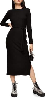 Topshop Long Sleeve Midi Sweater Dress
