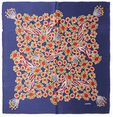 "Chanel Vintage Navy Jeweled Silk Scarf MM, 34"" x 34"""