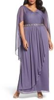 Alex Evenings Plus Size Women's Capelet Drape Long A-Line Dress