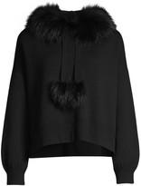 Alice + Olivia Oscar Silver Fox Fur-Trim Hooded Sweater