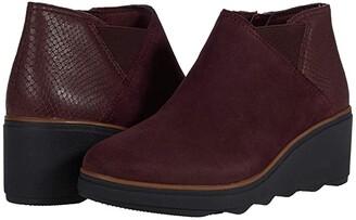 Clarks Mazy Harwich (Burgundy Interest Suede Combination) Women's Boots