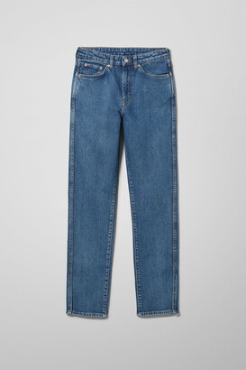 Weekday Case High Straight Split Jeans - Blue