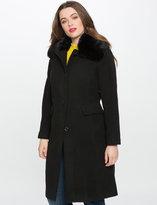 ELOQUII Plus Size Car Coat with Faux Fur Collar