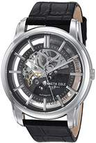 Kenneth Cole New York Men's 'Auto' Automatic Stainless Steel and Leather Dress Watch, Color:Black (Model: KC15116001)