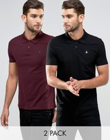 Asos 2 Pack Muscle Pique Polo Shirt With Logo In Black/ Burgundy