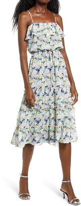 Rowa Floral Tiered Midi Dress