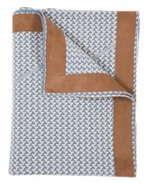 The Well Appointed House 100% Cashmere Jacquard Knit Throw in Denim