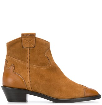 See by Chloe Western style suede leather ankle boots