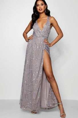 boohoo Plunge Wrap Sequin Maxi Bridesmaid Dress