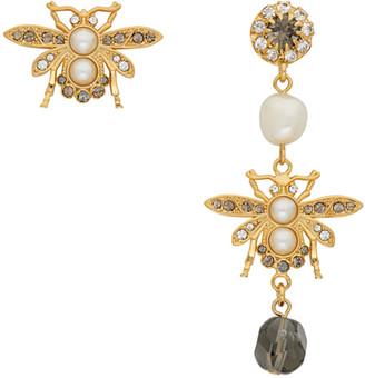 Erdem Gold and Grey Crystal Bee Earrings