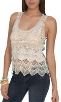 Wet Seal WetSeal Crochet Front Floral Tank Ivory