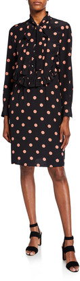 Tory Burch Dot Printed Bow-Neck Long-Sleeve Silk Dress