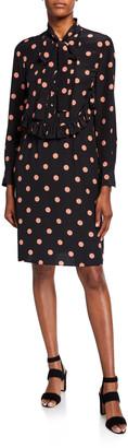 Tory Burch Dot Printed Bow-Neck Long-Sleeve Silk Dress