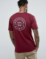 Brixton Oath T-shirt In Burgundy With Back Print