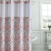 Hookless French Damask Print Coral Shower Curtain & PEVA Liner