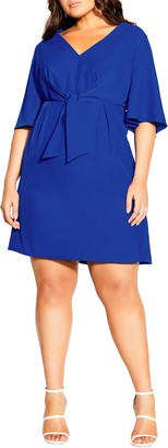 City Chic Knot Front Fit & Flare Dress