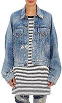 R 13 Women's Cotton Oversized Trucker Jacket-LIGHT BLUE
