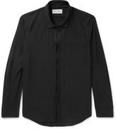 Solid Homme - Grosgrain-trimmed Poplin Zip-up Shirt - Black