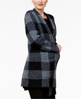 Eileen Fisher Wool Blend Open-Front Plaid Coat, A Macy's Exclusive