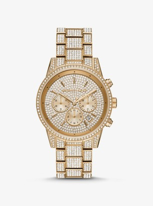 Michael Kors Ritz Pave Gold-Tone Watch