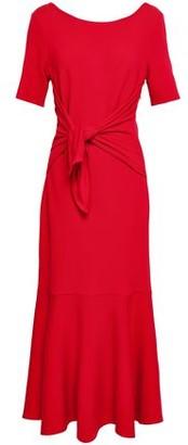 Oscar de la Renta Tie-front Fluted Wool Midi Dress
