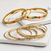 Cost Plus World Market Gold Indian Beaded Bangle Bracelets, Set of 9