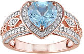 Fine Jewelry Womens 1/10 CT. T.W. Genuine Blue Topaz 18K Rose Gold Over Silver Heart Cocktail Ring, 5 , No Color Family