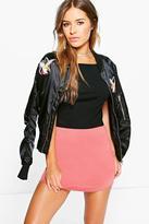 Boohoo Petite Anita Curved Hem Scuba Skirt