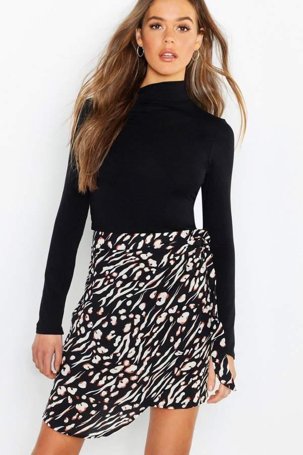 boohoo Animal Print Wrap Tie Waist Mini Skirt