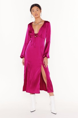 Nasty Gal Womens All Cut-Out of Patience Satin Midi Dress - Hot Pink