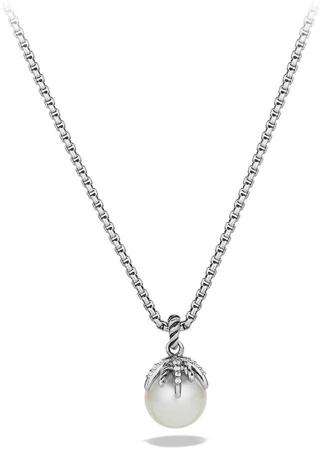 David Yurman Starburst Pearl Pendant with Diamonds on Chain