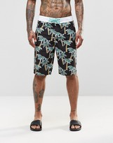 Asos Boardie Swim Shorts With Palm Tree Print