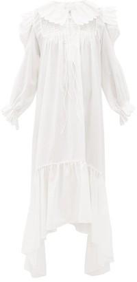 Horror Vacui Defensia Scalloped Cotton-poplin Dress - Womens - White