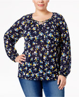 Style&Co. Style & Co Plus Size Floral-Print Peasant Top, Only at Macy's