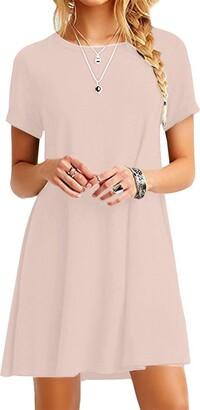 YMING Women's Long Shirt Oversized Dress Short Sleeve Dress Casual T-Shirt Dress Green XXXXL/22