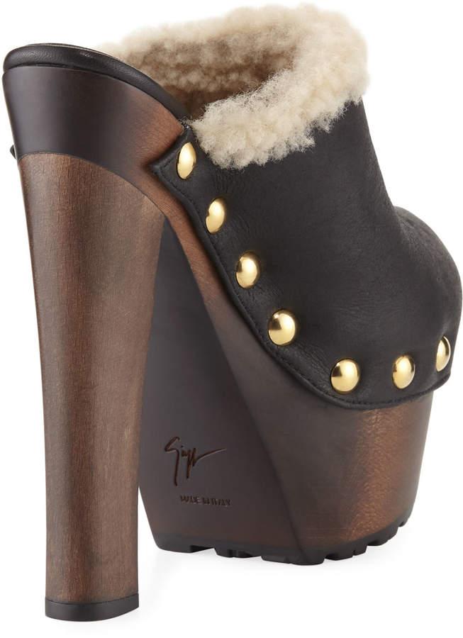 Giuseppe Zanotti Leather Studded Platform Mule