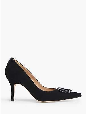 LK Bennett L.K.Bennett Harmony Suede Jewelled Court Shoes, Black