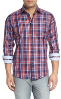Stone Rose Trim Fit Plaid Sport Shirt