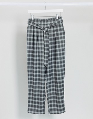 Monki check pants with waist tie