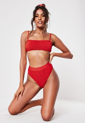 Missguided Red Crinkle Mix And Match Bandeau Strap Bikini Top