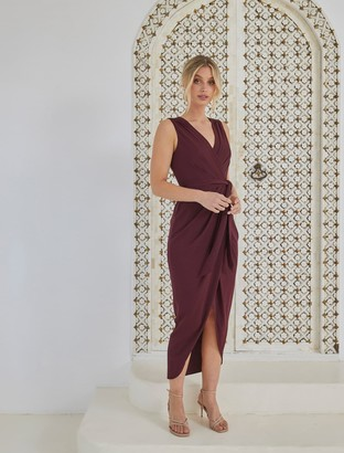 Forever New Liza Wrap Midi Dress - Burgundy - 16