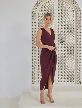 Forever New Liza Wrap Midi Dress - Burgundy - 4